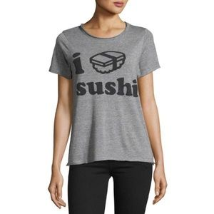 CHASER NWT I Love Sushi 🍣 Tee in Gray and Black